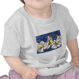 White Tiger Lily Flowers Stained Glass Design Art Tshirts