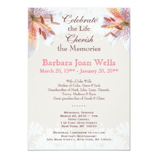 White Tiger Lily Memorial Service Announcement