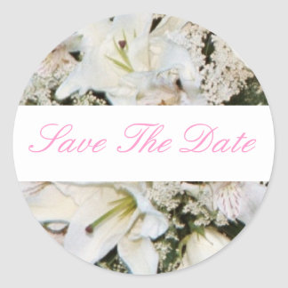 White Tiger Lily Save The Date Wedding Sticker