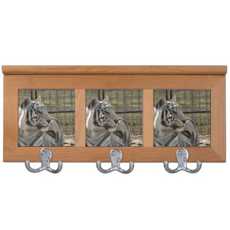 white tiger looking right animal image coat rack