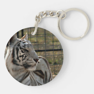 white tiger looking right animal image Double-Sided round acrylic keychain