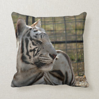 white tiger looking right animal image pillow