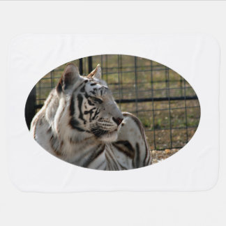 white tiger looking right animal image swaddle blanket