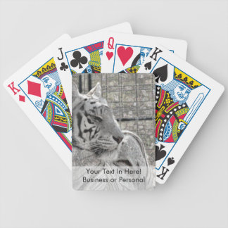 white tiger looking right bw sparkle bicycle playing cards