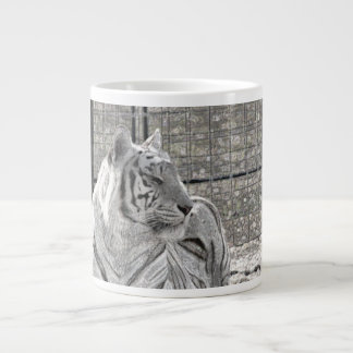 white tiger looking right bw sparkle extra large mugs