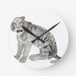 White Tiger Looking to the Front Round Clock