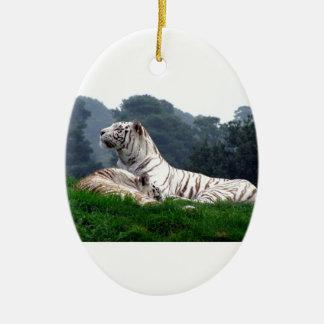 White Tiger Mamma and Cub Ceramic Ornament