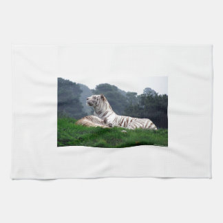 White Tiger Mamma and Cub Hand Towel