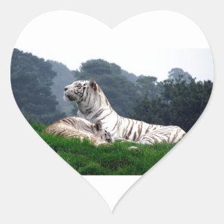 White Tiger Mamma and Cub Heart Sticker