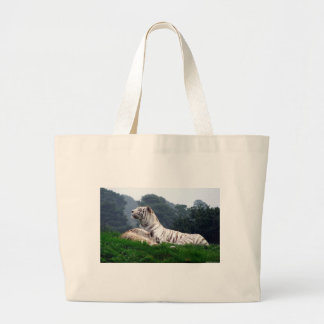 White Tiger Mamma and Cub Large Tote Bag