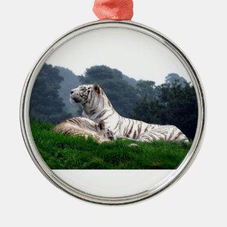 White Tiger Mamma and Cub Metal Ornament