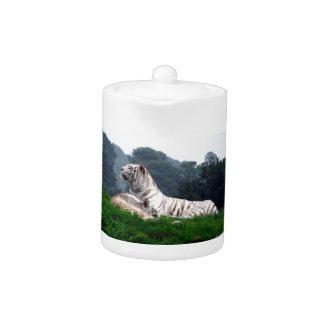 White Tiger Mamma and Cub Teapot