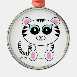 White Tiger Metal Ornament