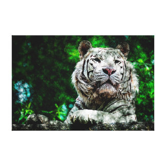 White Tiger Mixed Media Canvas Print