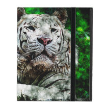 White Tiger Mixed Media iPad Cover