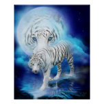 White Tiger Moon Art Poster/Print Poster
