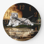 White Tiger & Moon Big Cat Animal-Lover Wall Clock