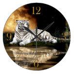 White Tiger & Moon Big Cat Animal-Lover Wall Clock