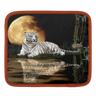 White Tiger, Moon Wildlife Fantasy Art iPad Sleeve