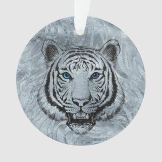 White Tiger on Frost glass background Ornament