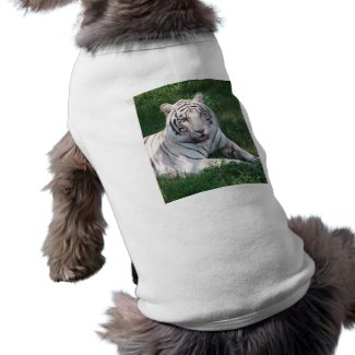 White tiger on green grass vertical frame picture petshirt