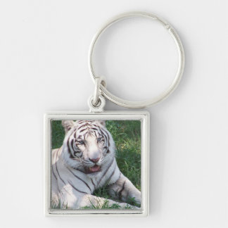 White tiger on green grass vertical frame picture keychain