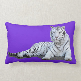 White Tiger on Purple Lumbar Pillow