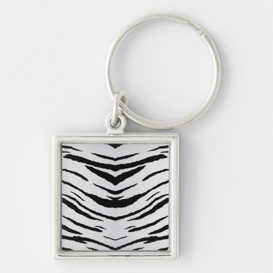 White Tiger or Zebra Striped Keychain