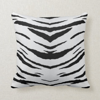 White Tiger or Zebra Striped Throw Pillow