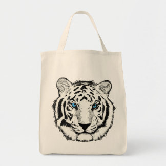 White Tiger Organic Tote Canvas Bags