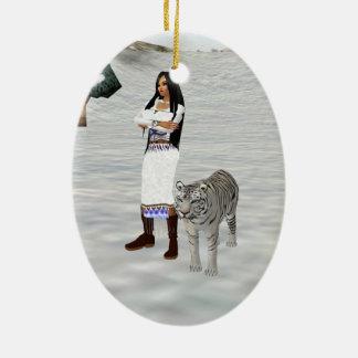 White Tiger Oval Ornament