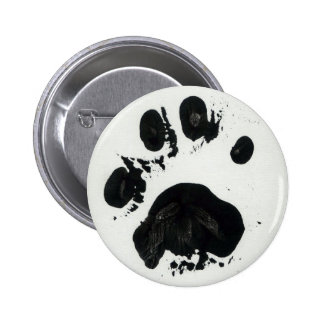 White Tiger Paw Print Button