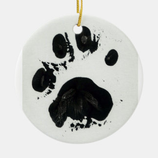 White Tiger Paw Print Ceramic Ornament