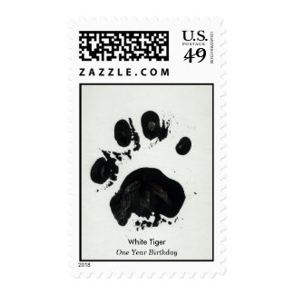 White Tiger Paw Print Postage Stamps