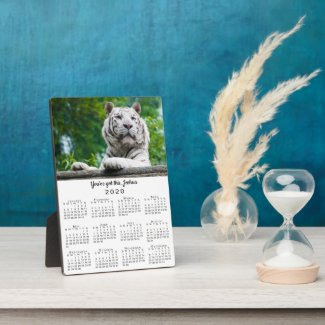 White Tiger Photo Custom Name 2020 Calendar Plaque