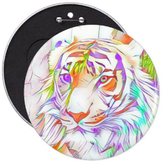 White tiger pinback button