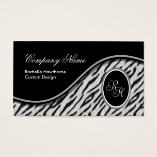 White Tiger Print Monogram S Business Cards ~ Bl