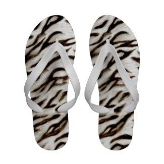 White Tiger Print Pattern Flip Flops