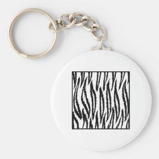 White Tiger Print. Tiger Pattern. Key Chain