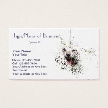 Professional Business White Tiger Roaring Impressionist Art Albino Cat Business Card