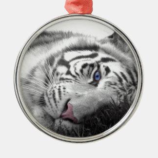 White tiger round metal christmas ornament