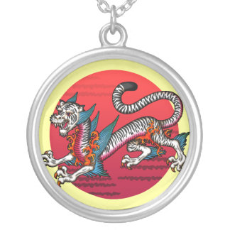 White Tiger Round Pendant Necklace