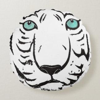 White Tiger Round Throw Pillow