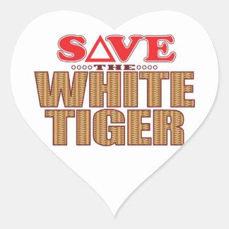 White Tiger Save Heart Sticker