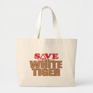 White Tiger Save Large Tote Bag