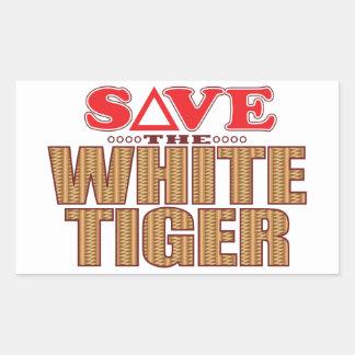 White Tiger Save Rectangular Sticker