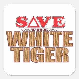 White Tiger Save Square Sticker