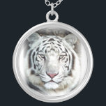 """White Tiger Silver Plated Necklace<br><div class=""""desc"""">Photo image enhanced using digital art colored pencil effects.</div>"""