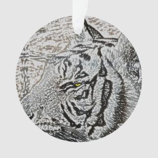 white tiger sketch yellow eye