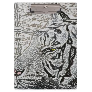 white tiger sketch yellow eye clipboards